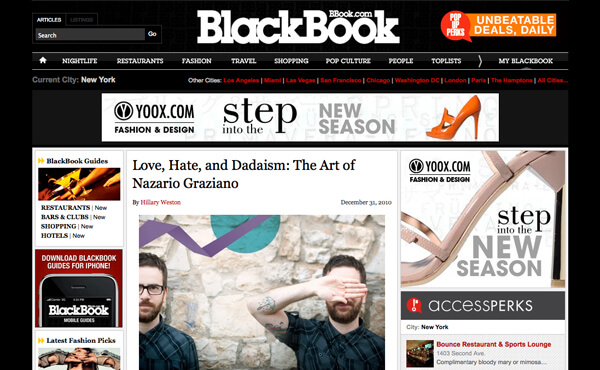 Nazario Graziano - Interview on BLACKBOOK magazine